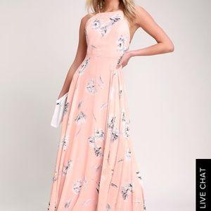 Lulus Eternal Joy Blush Pink Maxi Dress XS